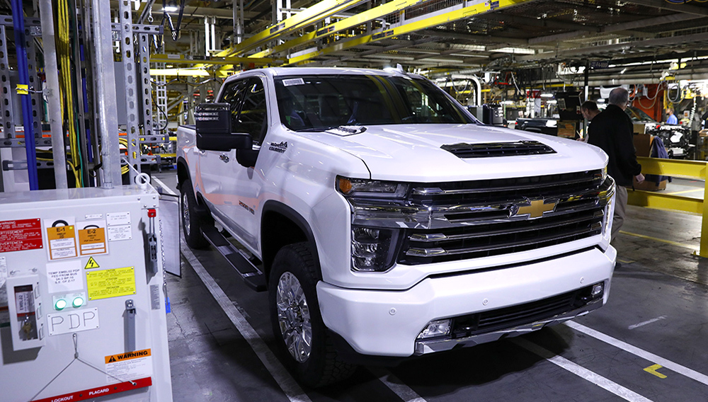 A General Motors Co. (GM) Chevrolet 2020 Silverado HD High Country edition pickup truck sits on the assembly line during a reveal event at the GM plant in Flint, Michigan, U.S., on Tuesday, Feb. 5, 2019.