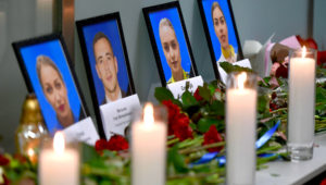 Portraits of the victims of the Ukraine International Airlines Boeing 737-800 crash in the Iranian capital Tehran, are seen at a memorial at the Boryspil airport outside Kiev on Jan 8, 2020. (Photo: AFP/Sergei SUPINSKY)