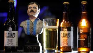 Vista este miércoles de la cerveza artesanal de la marca El Chapo 701, exhibida durante la expo Intermoda que se celebra en la ciudad de Guadalajara, en Jalisco (México). EFE/Francisco Guasco