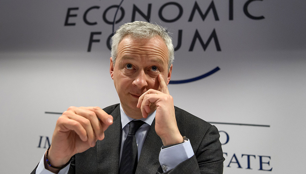 French Economy and Finance Minister Bruno Le Maire attends a press conference during the World Economic Forum (WEF) annual meeting in Davos, on January 22, 2020. FABRICE COFFRINI