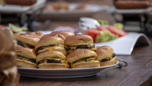 Cheeseburgers are seen during a picnic for military families hosted by President Donald Trump and first lady Melania Trump at the White House on July 4, 2018 in Washington, DC. | Alex Edelman/Getty Images