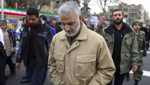 Qasem Soleimani attends celebrations marking the 37th anniversary of the Islamic revolution on February 11, 2016 in Tehran. (Photo by STR/AFP via Getty Images)