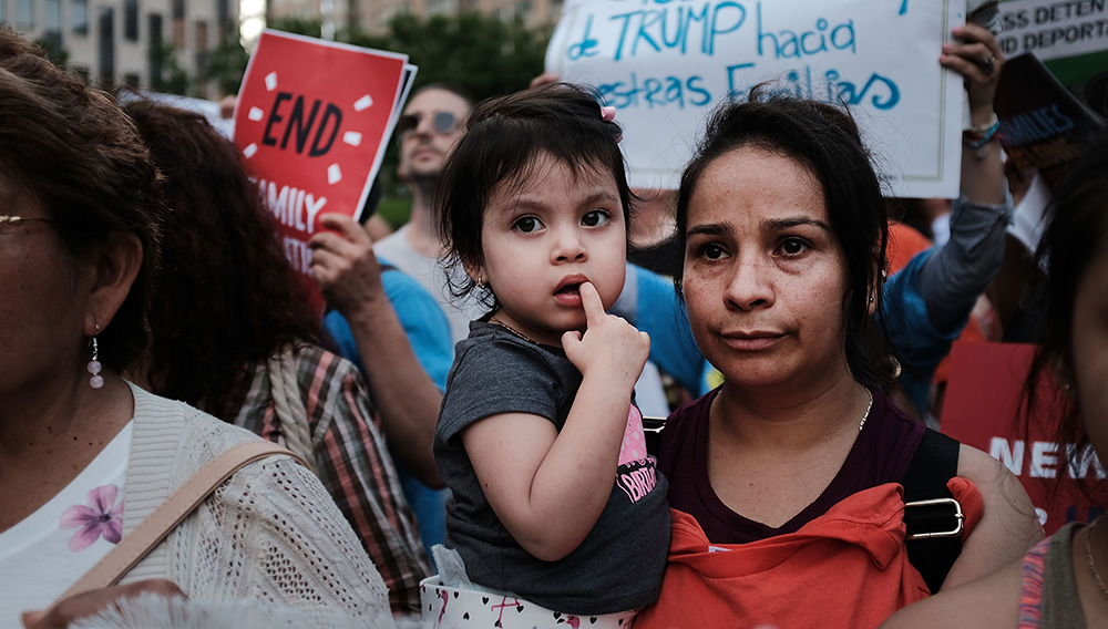 NEW YORK, NY - JUNE 01: Immigrant rights advocates and others participate in rally and and demonstration at the Federal Building in lower Manhattan against the Trump administration's policy that enables federal agents to take migrant children away from their parents at the border on June 1, 2018 in New York City. In coordinated marches across the country people are gathering outside U.S. Immigration and Customs Enforcement (ICE) field offices, U.S. attorney's offices, and the Deparment of Justice headquarters in Washington, D.C., to put increasing pressure on the Trump administration's family separation policy at the border. (Photo by Spencer Platt/Getty Images)