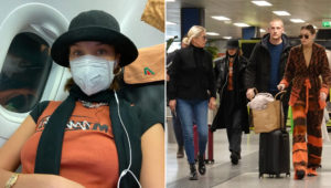 Bella Hadid took precaution with a face mask as she flew out of Milan (Picture: Bella Hadid, Instagram, Backgrid)