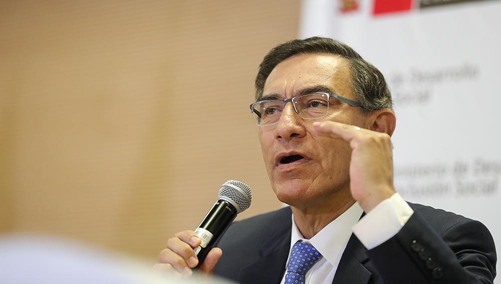 Presidente de Perú, Martín Vizcarra, durante la inauguración del Proyecto Haku Wiñay, el 3 de febrero de 2020.   Presidencia Perú (Flickr)