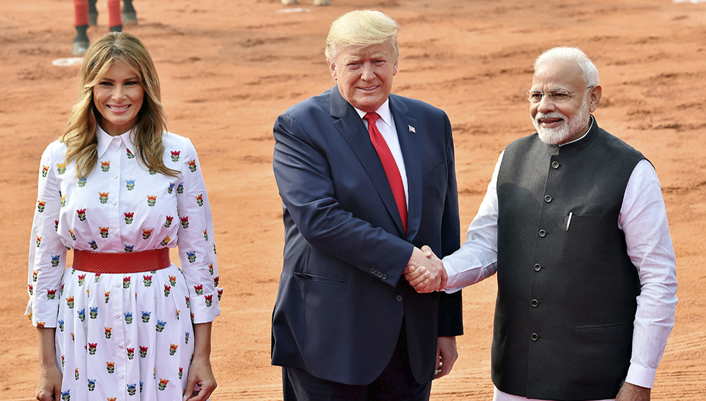Indian Prime Minister Narendra Modi (right) with United States President Donald Trump and First Lady Melania Trump. Hindustan Times / Contributor