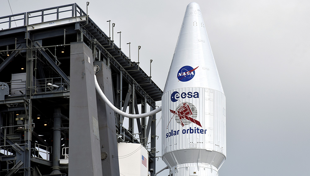 The Solar Orbiter spacecraft, built for NASA and the European Space Agency, sits atop launch pad 41 aboard a United Launch Alliance Atlas V rocket as it is prepared for launch at the Cape Canaveral Air Force Station in Cape Canaveral, Florida, U.S., February 9, 2020. REUTERS/Steve Nesius
