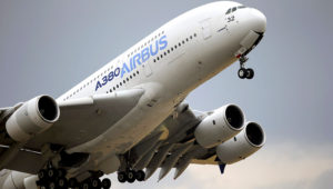 In this June 18, 2015, file photo, an Airbus A380 takes off for its demonstration flight at the Paris Air Show in Le Bourget airport, north of Paris. Commercial airliner maker Airbus is releasing 2019 earnings on Thursday, Feb. 12. (AP Photo/Francois Mori)