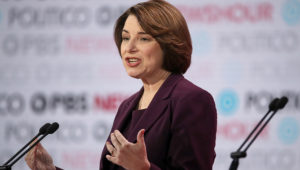 Democratic presidential candidatte Sen. Amy Klobuchar (D-MN) speaks during the Democratic presidential primary debate at Loyola Marymount University on December 19, 2019 in Los Angeles, California. Justin Sullivan | Getty Images