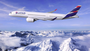 LATAM A350 over the Andes. Photo: LATAM Airlines Group S.A.