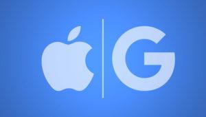Logotipos de los gigantes tecnológicos Apple y Google. Imagen: Internet