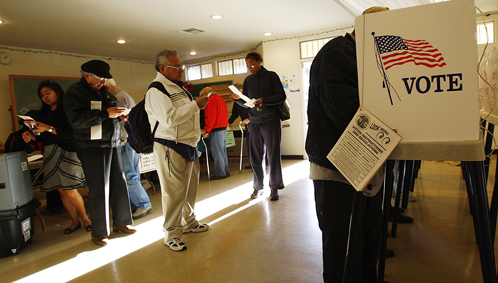 Voters go to the polls for Super Tuesday primaries in the predominantly Latino neighborhood of Boyle Heights on February 5, 2008 in Los Angeles, California. (Photo by David McNew/Getty Images)