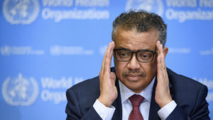 World Health Organization (WHO) Director-General Tedros Adhanom Ghebreyesus attends a daily press briefing on COVID-19 at the WHO headquaters on March 6, 2020 in Geneva. (Photo by FABRICE COFFRINI/AFP)