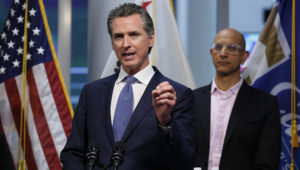 FILE - In this March 17, 2020 file photo, California Gov. Gavin Newsom gives an update to the state's response to the coronavirus at the Governor's Office of Emergency Services in Rancho Cordova Calif. (AP Photo/Rich Pedroncelli, Pool)