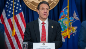 New York state Gov. Andrew Cuomo spoke at a separate news conference on the first confirmed case of COVID-19 in New York on March 2, 2020 in New York City. On Saturday, Cuomo declared a state of emergency over the virus. DAVID DEE DELGADO/GETTY