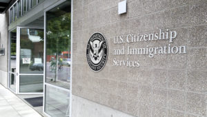 Portland, OR, USA - September 27, 2016: U.S. Citizenship and Immigration Services (USCIS) is a component of the United States Department of Homeland Security (DHS). It performs many administrative functions formerly carried out by the former United States Immigration and Naturalization Service (INS), which was part of the Department of Justice.