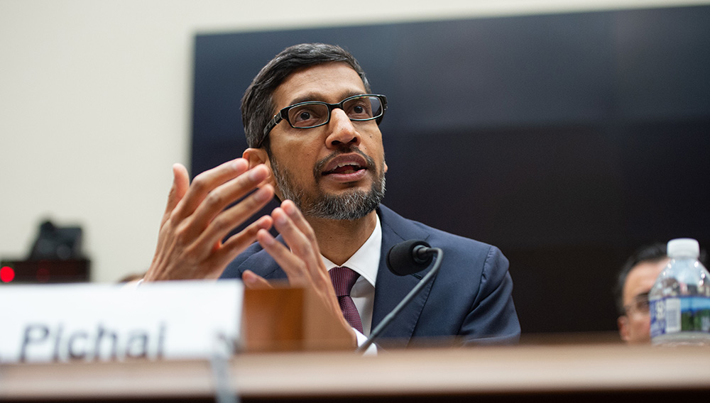 Google CEO Sundar Pichai testifies during a House Judiciary Committee hearing on Capitol Hill. PHOTO BY SAUL LOEB AFP/GETTY IMAGES