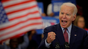 Joe Biden pictured here in Detroit, Michigan last night hours before the state casts their primary votes. Credit: Reuters