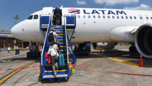 Passengers seen boarding a LATAM Airlines Airbus 320 at Puerto Maldonado airport also know as Padre Aldamiz International Airport. John Milner | LightRocket | Getty Images
