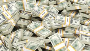 Background With Money American Hundred Dollar Bills. Shutterstock