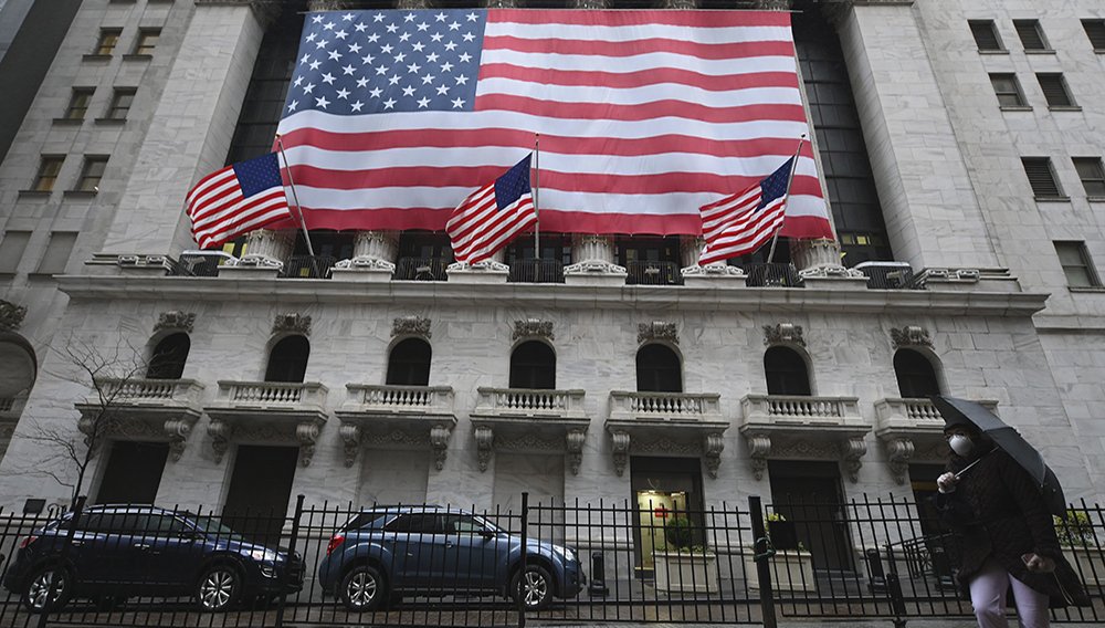 View of New York Stock Exchange, Wall Street on March 23, 2020 in New York City. (Photo by ANGELA WEISS/AFP via Getty Images)