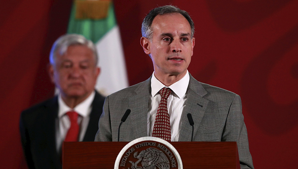 Hugo Lopez-Gatell Ramirez, Mexico's Undersecretary of Health Prevention and Promotion, attends a news conference with Mexico's President Andres Manuel Lopez Obrador, as the spread of the coronavirus disease (COVID-19) continues, at the National Palace in Mexico City, Mexico, March 17, 2020. REUTERS/Henry Romero