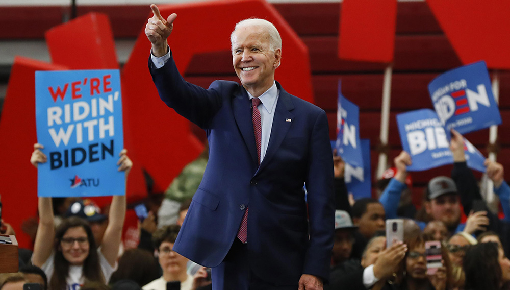 Democratic presidential candidate former Vice President Joe Biden speaks during a campaign rally at Renaissance High School in Detroit, Monday, March 9, 2020. (AP Photo/Paul Sancya)