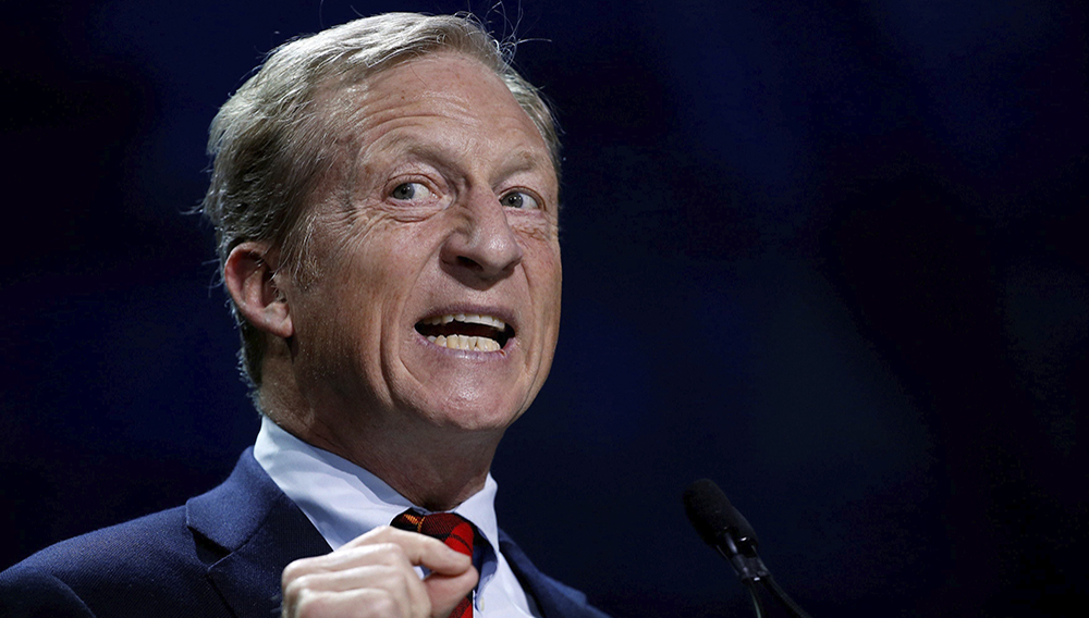 """Tom Steyer speaks during a """"Need to Impeach"""" town hall event in Agawam, Mass., on March 13. The billionaire investor and activist could enter the Democratic presidential contest this week. (Steven Senne/AP)"""