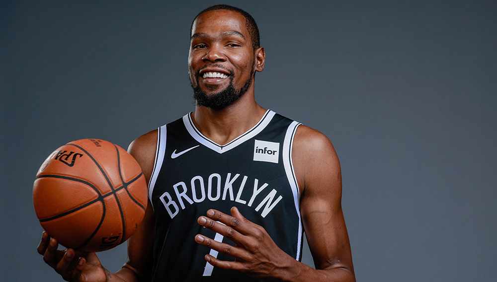 Kevin Durant won't play this season, but has the focus on the Nets. (Nicole Sweet-USA TODAY Sports)