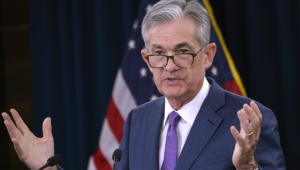 In this file photo taken on July 31, 2019 US Federal Reserve Chairman Jerome Powell speaks during a press conference after a Federal Open Market Committee meeting in Washington, DC on July 31, 2019. (Photo by ANDREW CABALLERO-REYNOLDS / AFP)