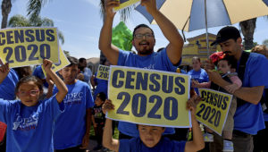 Miguel Sandoval, of Perris, rallies with his family and fellow immigrant-rights advocates with the TODEC Legal Center downtown before canvassing neighborhoods, to talk with residents about participating in the 2020 U.S. Census, in Perris on Sunday, May 5, 2019. (Photo by Jennifer Cappuccio Maher, Inland Valley Daily Bulletin/SCNG)