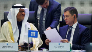 Saudi Arabia's Minister of Energy Prince Abdulaziz bin Salman Al-Saud and Russia's Energy Minister Alexander Novak are seen at the beginning of an OPEC and NON-OPEC meeting in Vienna, Austria December 6, 2019. Leonhard Foeger | Reuters