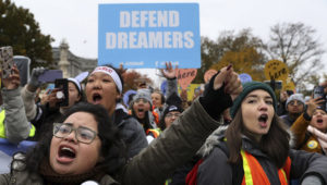 Hundreds of people gather outside the U.S. Supreme Court to rally in support of the Deferred Action on Childhood Arrivals program. Photo: Chip Somodevilla/Getty Images