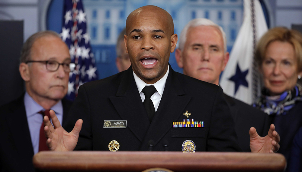 U.S. Surgeon General Jerome Adams speaks in the briefing room of the White House in Washington, Tuesday, 10, 2020, about the coronavirus outbreak. | PHOTO: AP