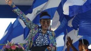 In this Sept. 5, 2018 file photo, the First Lady and Vice-President of Nicaragua Rosario Murillo waves to the crowd during a rally in Managua, Nicaragua. (AP Photo/Alfredo Zuniga, File)