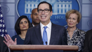 Secretary of Treasury Steve Mnuchin, with members of the coronavirus taskforce, responds to a question from the news media during a COVID-19 coronavirus press conference at the White House in Washington, DC, USA, 14 March 2020. EFE/EPA/SHAWN THEW