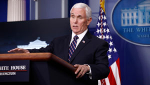 Vice President Mike Pence speaks during a coronavirus task force briefing at the White House, Sunday, April 19, 2020, in Washington. (AP Photo/Patrick Semansky)