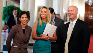 Katie Miller, (left), White House press secretary Kayleigh McEnany (middle) and Marc Short, chief of staff to Vice President Mike Pence (right) at a roundtable at the White House on April 29, 2020. | Credit: Associated Press