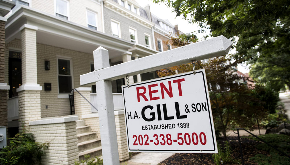 A for rent sign advertising a row house in northeast Capitol Hill, is pictured on Monday, August 26, 2019, in Washington D.C. | PHOTO: Tom Williams | CQ-Roll Call, Inc. | Getty Images