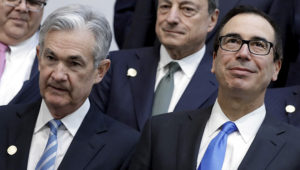FILE PHOTO: U.S. Treasury Secretary Steve Mnuchin (R) and Federal Reserve Chairman Jerome Powell pose for G-20 finance ministers and central banks governors family photo during the IMF/World Bank spring meeting in Washington, U.S., April 20, 2018. REUTERS/Yuri Gripas/File Photo