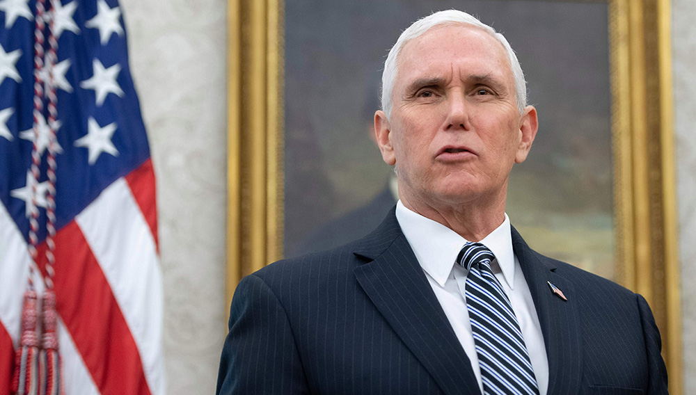 Mike Pence speaks in the Oval Office of the White House on May 6, 2020. | Credit: GETTY IMAGES