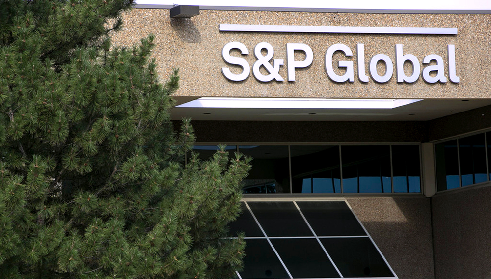 A logo sign outside of a facility occupied by S&P Global, Inc., in Centennial, Colorado, on July 22, 2018. (Photo by Kristoffer Tripplaar/Sipa USA)