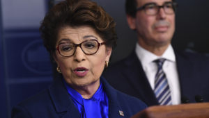 Jovita Carranza, head of the Small Business Administration, speaks as U.S. Treasury Secretary Steven Mnuchin, listens during a news conference on April 2. The SBA has notified nearly 8,000 businesses that their information may have been exposed. | CREDIT: UPI/BLOOMBERG VIA GETTY IMAGES