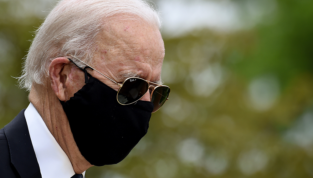 Democratic presidential candidate Joe Biden, at Delaware Memorial Bridge Veterans Memorial Park earlier this month, spoke from his home in Delaware where he has been during the coronavirus pandemic. | PHOTO BY OLIVIER DOULIERY AFP VIA GETTY IMAGES