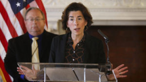 Providence, RI, March 22, 2020 - RI Governor Gina Raimondo's daily Covit-19 press conference in the State Room of the RI State House Sunday afternoon. [The Providence Journal / Kris Craig]