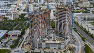 The twin-tower complex on 550 Quadrille Blvd. in West Palm Beach, Florida on April 19, 2020. Developer Jeff Greene is threatening to leave project unfinished. [GREG LOVETT/palmbeachpost.com]