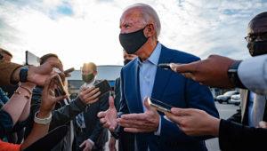 Joe Biden speaks with the press before departing Charlotte, North Carolina, on September 23, 2020. | Jim Watson / AFP - Getty Images