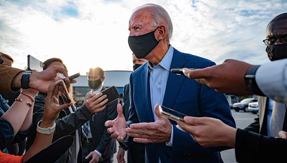 Joe Biden speaks with the press before departing Charlotte, North Carolina, on September 23, 2020.   Jim Watson / AFP - Getty Images