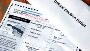 This is an Official Democratic General Primary mail-in ballot for the Pennsylvania primary in Pittsburgh, Tuesday, May 26, 2020. (AP Photo/Gene J. Puskar)