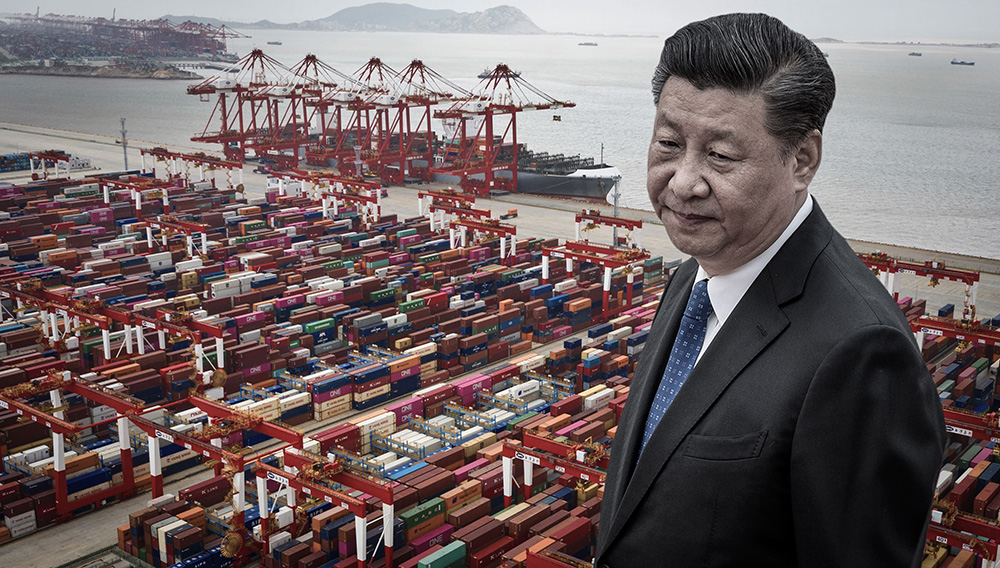Chinese President Xi Jinping and containers stacked at Yangshan Deepwater Port in Shanghai. (Nikkei Montage/Source photo by Reuters/Getty Images)